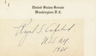 Autographs: ROYAL SAMUEL COPELAND - ENGRAVED CARD SIGNED 1935