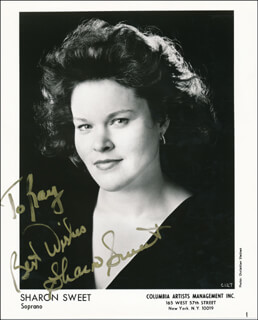 SHARON SWEET - INSCRIBED PRINTED PHOTOGRAPH SIGNED IN INK