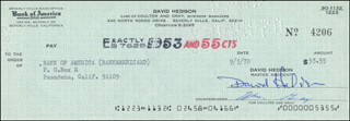 DAVID HEDISON - AUTOGRAPHED SIGNED CHECK 09/03/1970