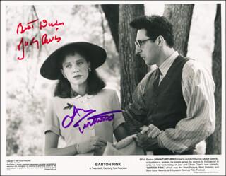 Autographs: BARTON FINK MOVIE CAST - PRINTED PHOTOGRAPH SIGNED IN INK CO-SIGNED BY: JOHN TURTURRO, JUDY DAVIS
