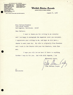 JOHN SHERMAN COOPER - TYPED LETTER SIGNED 08/08/1966