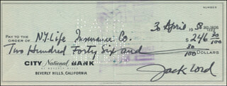 JACK LORD - AUTOGRAPHED SIGNED CHECK 04/30/1958