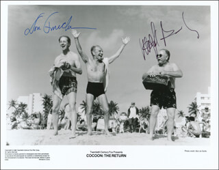 COCOON: THE RETURN MOVIE CAST - PRINTED PHOTOGRAPH SIGNED IN INK CO-SIGNED BY: WILFORD BRIMLEY, DON AMECHE - HFSID 343368