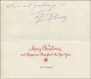 FIFI D'ORSAY - CHRISTMAS / HOLIDAY CARD SIGNED