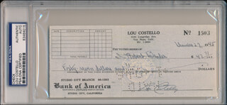 ABBOTT & COSTELLO (LOU COSTELLO) - AUTOGRAPHED SIGNED CHECK 12/27/1945