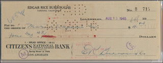 EDGAR RICE BURROUGHS - AUTOGRAPHED SIGNED CHECK 08/15/1945