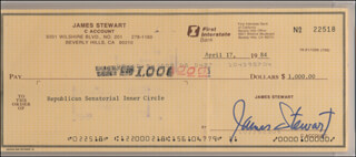 JAMES JIMMY STEWART - AUTOGRAPHED SIGNED CHECK 04/17/1984