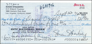 SUSAN STRASBERG - AUTOGRAPHED SIGNED CHECK 09/22/1972