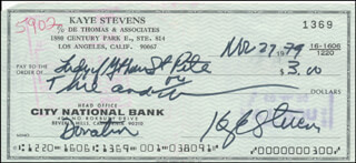 KAYE STEVENS - AUTOGRAPHED SIGNED CHECK 11/27/1979