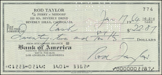ROD TAYLOR - AUTOGRAPHED SIGNED CHECK 01/17/1964