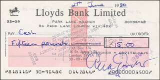 AVA GARDNER - AUTOGRAPHED SIGNED CHECK 06/27/1980