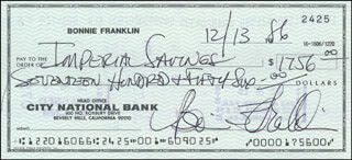 BONNIE FRANKLIN - AUTOGRAPHED SIGNED CHECK 12/13/1986