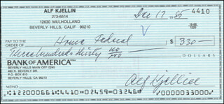 ALF KJELLIN - AUTOGRAPHED SIGNED CHECK 12/17/1985