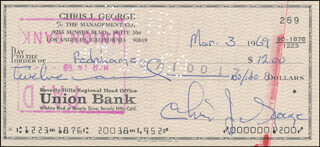 CHRISTOPHER GEORGE - AUTOGRAPHED SIGNED CHECK 03/03/1969