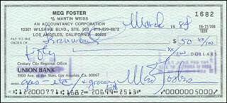 MEG FOSTER - AUTOGRAPHED SIGNED CHECK 03/1984