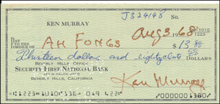 KEN MURRAY - AUTOGRAPHED SIGNED CHECK 08/03/1968