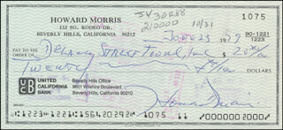 HOWARD MORRIS - AUTOGRAPHED SIGNED CHECK 06/23/1979