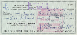 ELEANOR POWELL - AUTOGRAPHED SIGNED CHECK 11/09/1977