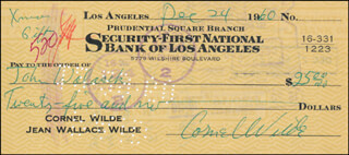 CORNEL WILDE - AUTOGRAPHED SIGNED CHECK 12/24/1960