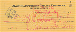 CAROL DEMPSTER - CHECK SIGNED & ENDORSED 01/04/1961