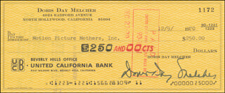 DORIS DAY - AUTOGRAPHED SIGNED CHECK 12/09/1970