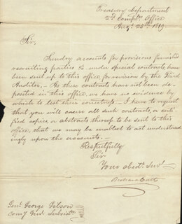 RICHARD CUTTS - MANUSCRIPT LETTER SIGNED 08/25/1819