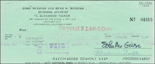 JOHN McGIVER - AUTOGRAPHED SIGNED CHECK 12/16/1970