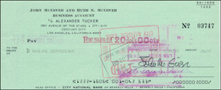 JOHN McGIVER - AUTOGRAPHED SIGNED CHECK 01/28/1970