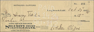 KATHLEEN CLIFFORD - AUTOGRAPHED SIGNED CHECK 10/29/1924