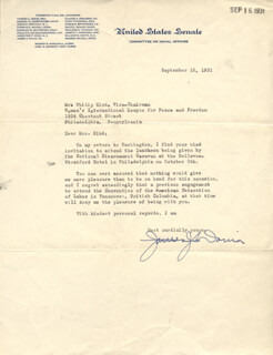 Autographs: JAMES J. DAVIS - TYPED LETTER SIGNED 09/15/1931