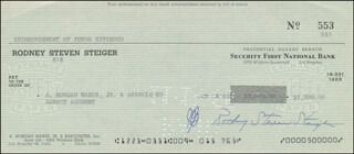 ROD STEIGER - AUTOGRAPHED SIGNED CHECK 10/18/1966