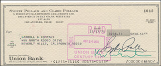 SYDNEY POLLACK - AUTOGRAPHED SIGNED CHECK 12/17/1975
