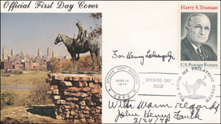 JOHN HENRY FAULK - AUTOGRAPH NOTE SIGNED 03/24/1978