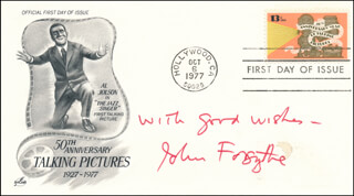 JOHN FORSYTHE - AUTOGRAPH SENTIMENT ON FIRST DAY COVER SIGNED