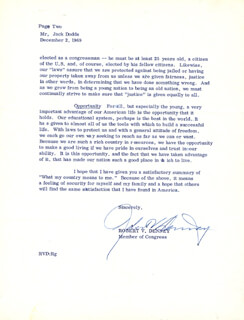 ROBERT V. DENNEY - TYPED LETTER SIGNED 12/02/1969