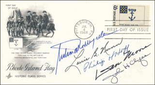 Autographs: VICE PRESIDENT NELSON A. ROCKEFELLER - FIRST DAY COVER SIGNED CO-SIGNED BY: GOVERNOR JOHN H. CHAFEE, GOVERNOR PHILIP H. HOFF, GOVERNOR DAN K. MOORE, GOVERNOR LOUIE B. NUNN