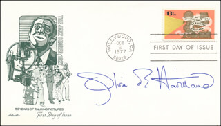 OLIVIA DE HAVILLAND - FIRST DAY COVER SIGNED