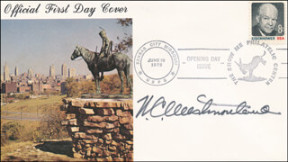 GENERAL WILLIAM C. WESTMORELAND - FIRST DAY COVER SIGNED