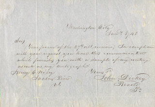 JOHN DICKEY - AUTOGRAPH LETTER SIGNED 01/08/1848
