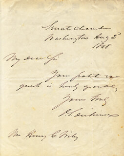 DANIEL S. DICKINSON - AUTOGRAPH NOTE SIGNED 08/02/1848