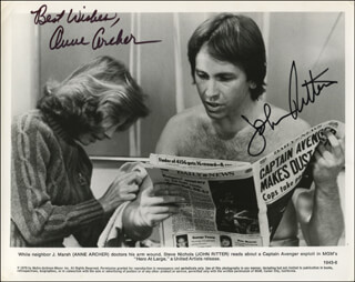 HERO AT LARGE MOVIE CAST - PRINTED PHOTOGRAPH SIGNED IN INK CO-SIGNED BY: JOHN RITTER, ANNE ARCHER