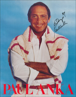 Autographs: PAUL ANKA - MAGAZINE PHOTOGRAPH SIGNED 1987