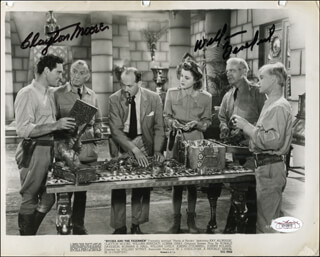 PERILS OF NYOKA MOVIE CAST - PRINTED PHOTOGRAPH SIGNED IN INK CO-SIGNED BY: CLAYTON THE LONE RANGER MOORE, WILLIAM BILLY BENEDICT
