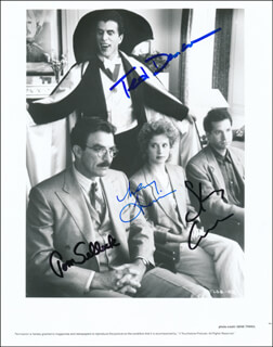THREE MEN AND A BABY MOVIE CAST - AUTOGRAPHED SIGNED PHOTOGRAPH CO-SIGNED BY: TED DANSON, STEVE GUTTENBERG, TOM SELLECK, NANCY TRAVIS