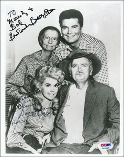 Autographs: BEVERLY HILLBILLIES TV CAST - PHOTOGRAPH SIGNED CO-SIGNED BY: DONNA DOUGLAS, BUDDY EBSEN