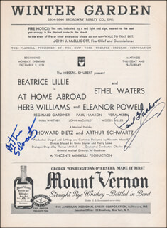Autographs: AT HOME ABROAD PLAY CAST - SHOW BILL SIGNED CO-SIGNED BY: ARTHUR SCHWARTZ, PAUL HAAKON