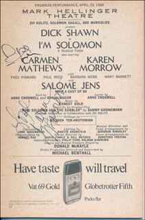 I'M SOLOMON PLAY CAST - SHOW BILL SIGNED CO-SIGNED BY: KAREN MORROW, DICK RICKY SHAWN