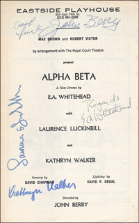 Autographs: ALPHA BETA PLAY CAST - SHOW BILL SIGNED CO-SIGNED BY: LAURENCE LUCKINBILL, KATHRYN WALKER, JOHN BERRY, E.A. WHITEHEAD