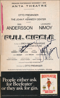 FULL CIRCLE PLAY CAST - SHOW BILL SIGNED CO-SIGNED BY: LEONARD NIMOY, LINDA CARLSON