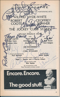 Autographs: THE JOCKEY CLUB STAKES PLAY CAST - SHOW BILL SIGNED CO-SIGNED BY: WILFRID HYDE-WHITE, ROBERT COOTE, THAYER DAVID, PHILIP KERR, DILLON EVANS, ALBERT SANDERS, CHRISTOPHER BERNAU, GEOFFREY SUMNER
